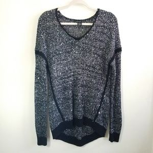 DKNY Jeans Crochet Knit Hi-Lo Sequined Sweater